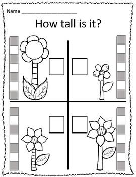 Tall & Short Spring Flower Measurement Worksheets by