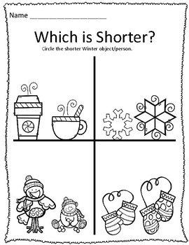 Tall & Short Winter Measurement Worksheets by
