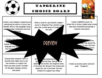 Tangerine Choice Board Novel Study Activities Menu Book
