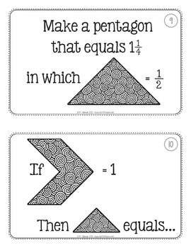 Tangram Fraction Task Cards Math Centers by Teacher Thrive