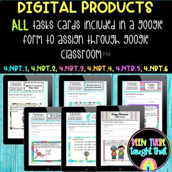 4.NBT.1 through 4.NBT.6 Task Cards, Worksheet and Coloring