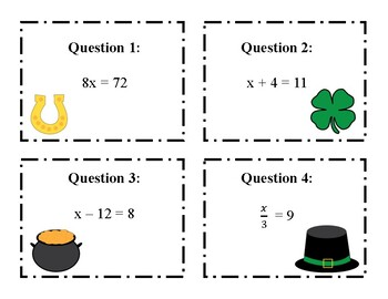 Task Cards: Solving One-Step Equations St. Patrick's Day