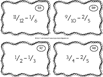 Task Cards for Adding and Subtracting Fractions with