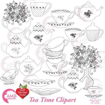 tea time digital stamps