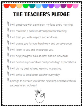Teacher Pledge to Students (EDITABLE) by Live2Learn with