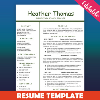 Teacher Resume Template Education Resume One Page CV