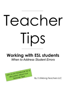 Teacher Tips: When to Address ESL Student Errors by 2