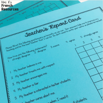 Teacher grade card/ Student evaluations of teacher by Mme