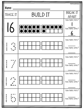 Teen Numbers With Ten Frames Worksheets  Freebie! By 123  Tpt