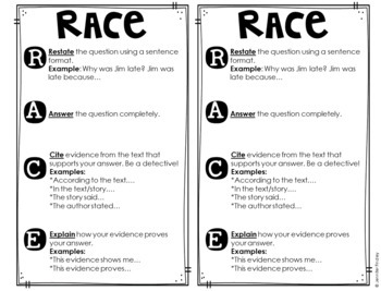 Teaching RACE Constructed Response Strategy FREEBIES by
