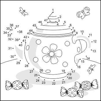 Connect the Dots and Coloring Page with Teapot, Commercial