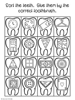 Teeth 2D Shape Sort Math Craft by A Sunny Day in First