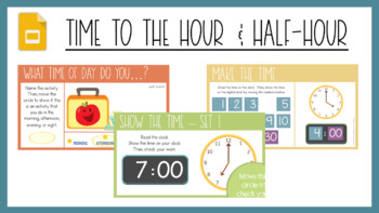 Telling Time: Hour and Half Hour Worksheets & Scoot