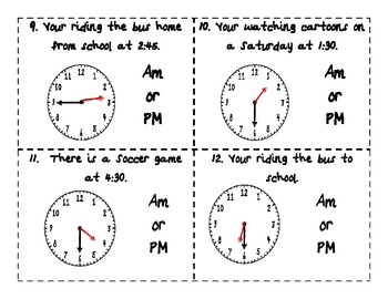 Telling Time AM/PM Common Core Task Cards, Sorting