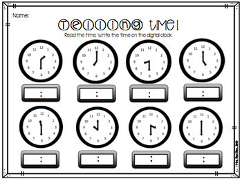 Telling Time with Analog and Digital Clocks 1.MD.B.3