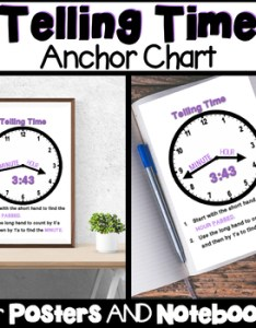 also telling time anchor chart for interactive notebooks and posters rh teacherspayteachers