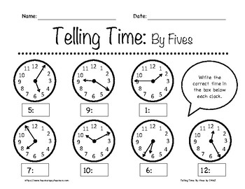 Telling Time: By Fives Worksheets 1st-3rd Grade by In the