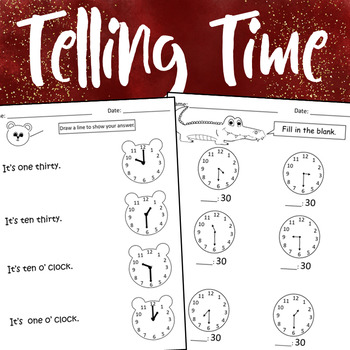 Telling Time & Elapsed Time Worksheets by Dressed In