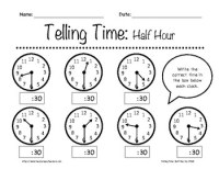 Telling Time: Half Hour Worksheets 1st-3rd Grade by In the ...