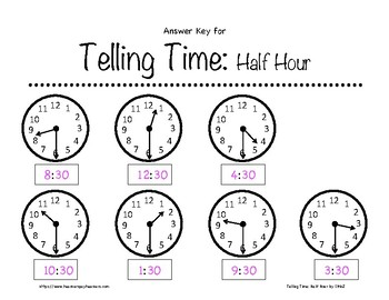 Telling Time: Half Hour Worksheets 1st-3rd Grade by In the