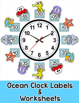 Ocean Theme Telling Time Clock Labels Under The Sea