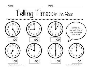 Telling Time: On the Hour Worksheets K-3rd Grade by In the