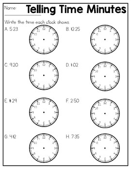 Telling Time Practice Sheets & Quizzes by Kmwhyte's