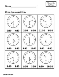 Telling Time Practice Worksheets- Hour, Half Hour and ...