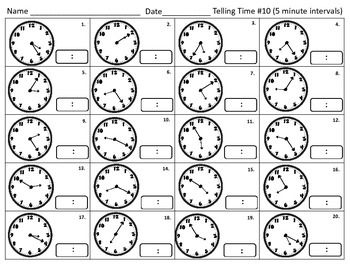 Telling Time Printables for Practice and Assessments