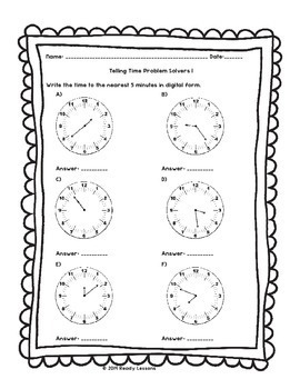 2nd Grade Telling Time Worksheets for Telling Time to 5