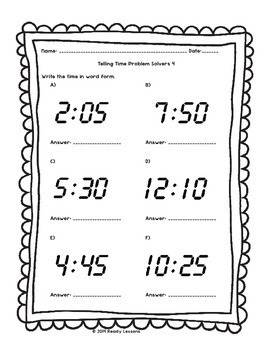 2nd Grade Telling Time Worksheets Tell Times to 5 Minutes