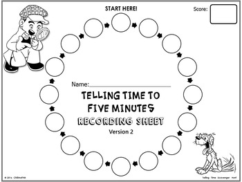 Telling Time to Five Minutes {Scavenger Hunt Activity} by