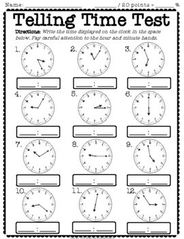 Telling Time Test: 2-Page Quiz (Telling Time to the