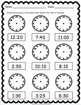 Telling Time Pack {Worksheets, Game & Task Cards} by Kim
