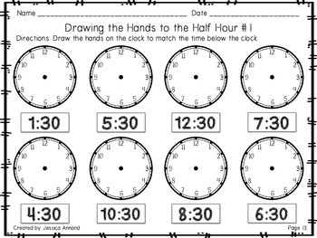 Telling Time Worksheets to the Hour and Half Hour by