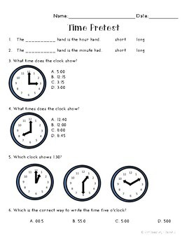 Telling Time and Calendar Pretest by Elementary and