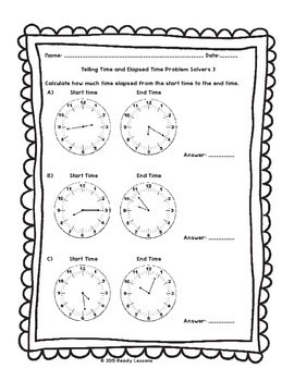3rd Grade Telling Time to the Minute Worksheets & Elapsed