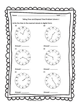 3rd Grade Telling Time to the Minute Worksheets Elapsed