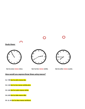 Telling Time in Spanish Practice Answer Key by Susan