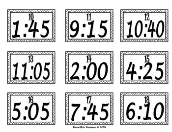 Telling Time to 5 Minute Intervals Scoot Game by Terrific