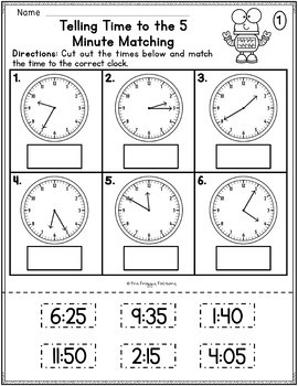 Telling Time to the 5 Minutes Worksheets by The Froggy