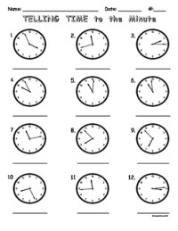 Telling Time to the Minute Worksheet by Teacher Treats | TpT