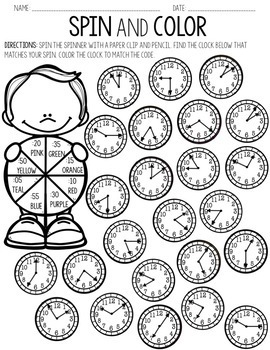 Telling Time to the Nearest 5 Minutes Spin & Color by The
