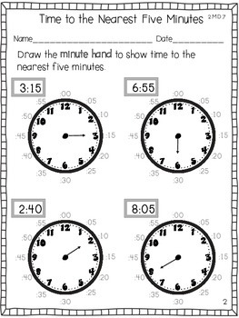 Telling Time to the Nearest Five Minutes by Brandy