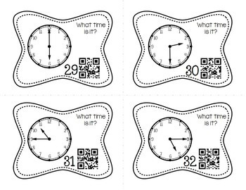 Telling Time to the Quarter Hour Task Cards (Optional QR