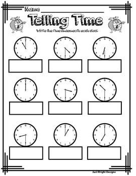 Telling time to half hour analog clock printable worksheet