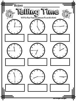 Telling time to quarter hour analog clock printable