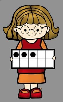 Ten Frame Math Kids Clip Art by Whimsy Workshop Teaching  TpT