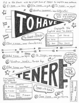 Tener Spanish verb worksheet & poster ~No prep Instant