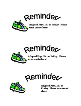 Tennis Shoe Reminder for Physical Education by